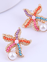 cheap -Women's Stud Earrings Earrings Tropical Starfish Fashion European Boho Resin Earrings Jewelry Golden For Daily Stage Holiday 1 Pair