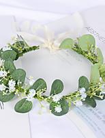 cheap -Simple And Fresh Headband Simulation Gypsophila Floral Eucalyptus Wreath Girl Dance Selfie Accessories