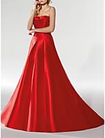 cheap -A-Line Minimalist Elegant Engagement Formal Evening Dress Strapless Sleeveless Court Train Satin with Sleek 2021