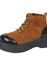 cheap -Women's Boots Flat Heel Round Toe Booties Ankle Boots Daily Work Leather Suede Solid Colored Wine Brown