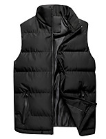 cheap -Men's Vest Daily Going out Fall Winter Regular Coat Regular Fit Thermal Warm Windproof Warm Casual Streetwear Jacket Sleeveless Plain Patchwork Blue Gray Black