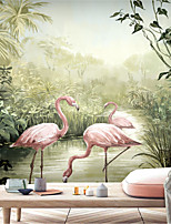 cheap -Mural Wallpaper Wall Sticker Covering Print Custom Peel and Stick      Removable Self Adhesive Landscape Painting Wetland Flamingo PVC / Vinyl Home Decor