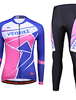 cheap -Women's Long Sleeve Cycling Jersey with Tights Winter Spandex Blue+Pink Stripes Bike Quick Dry Sports Stripes Mountain Bike MTB Road Bike Cycling Clothing Apparel / Stretchy / Athletic / Athleisure