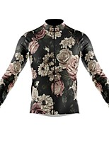 cheap -21Grams Men's Long Sleeve Cycling Jersey Spandex Polyester Dark Gray Floral Botanical Funny Bike Top Mountain Bike MTB Road Bike Cycling Quick Dry Moisture Wicking Breathable Sports Clothing Apparel