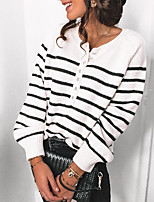 cheap -Women's Pullover Sweater Knitted Button Striped Stylish Casual Long Sleeve Sweater Cardigans Crew Neck Fall Winter Green White Black