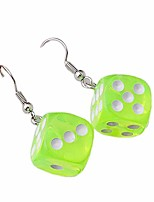 cheap -resin 3d dice dangle earrings punk cubic acrylic multicolor cube square dice charm drop earrings funny geometric hip hop night club party jewelry for women girls - light green