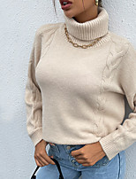 cheap -Women's Pullover Sweater Classic Style Solid Color Classical Casual Long Sleeve Sweater Cardigans High Neck Fall Winter Apricot / Holiday