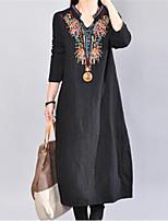 cheap -Women's A Line Dress Midi Dress Green Black Red Long Sleeve Print Embroidered Fall V Neck Casual Vintage 2021 M L XL XXL
