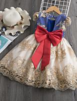 cheap -Kid's Little Girls' Dress Flower / Floral Bow Yellow Navy Blue Short Sleeve Chic & Modern Elegant & Luxurious Dresses