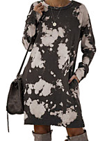 cheap -Women's A Line Dress Knee Length Dress Blue Purple Wine Gray Light Green Dark Blue Long Sleeve Print Pocket Print Fall Round Neck Casual 2021 S M L XL XXL 3XL
