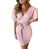 cheap -Women's Sheath Dress Short Mini Dress Blushing Pink Gray Green Black Short Sleeve Solid Color Lace up Fall V Neck Casual 2021 S M L XL XXL