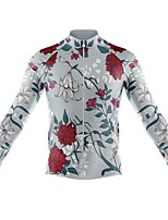 cheap -21Grams Men's Long Sleeve Cycling Jersey Spandex Polyester Grey Floral Botanical Funny Bike Top Mountain Bike MTB Road Bike Cycling Quick Dry Moisture Wicking Breathable Sports Clothing Apparel