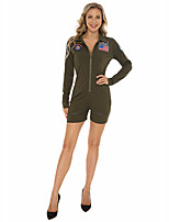 cheap -Police Uniforms Cosplay Costume Adults' Women's Halloween Halloween Halloween Festival / Holiday Terylene Green Women's Easy Carnival Costumes Solid Color / Leotard / Onesie