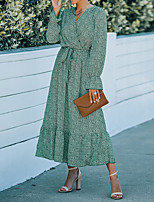 cheap -Women's Chiffon Dress Maxi long Dress Khaki Green Black Long Sleeve Print Print Fall Spring V Neck Casual 2021 S M L XL