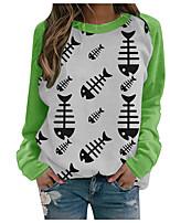cheap -Women's Sweatshirt Fish Print Crew Neck Casual Daily 3D Print Basic Streetwear Hoodies Sweatshirts  Green