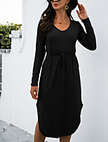 cheap -Women's A Line Dress Midi Dress khaki Light Grey Black Dark Gray Long Sleeve Solid Color Modern Style Fall Winter V Neck Casual 2021 S M L XL XXL