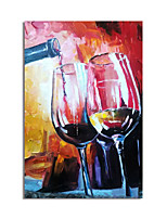 cheap -Oil Painting Handmade Hand Painted Wall Art Abtract Wine Cup Canvas Painting Home Decoration Decor Stretched Frame Ready to Hang
