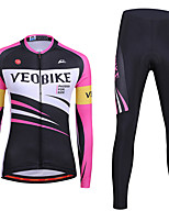 cheap -Women's Long Sleeve Cycling Jersey with Tights Summer Spandex Pink / Black Stripes Bike Quick Dry Sports Stripes Mountain Bike MTB Road Bike Cycling Clothing Apparel / Stretchy / Athletic