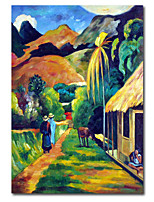 cheap -Wall Art Canvas Prints Painting Artwork Picture Abstract CampusRetro Landscape Home Decoration Decor Stretched Frame Ready to Hang