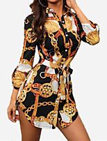 cheap -Women's Shirt Dress Short Mini Dress Wine Dark Green Black Red 3/4 Length Sleeve Luxury Print Spring Summer Collar Casual Sexy 2021 S M L XL 2XL 3XL 4XL 5XL