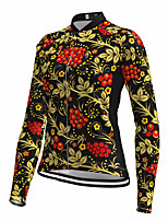 cheap -21Grams Women's Long Sleeve Cycling Jersey Spandex Black Floral Botanical Bike Top Mountain Bike MTB Road Bike Cycling Quick Dry Moisture Wicking Sports Clothing Apparel / Stretchy / Athleisure