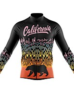 cheap -21Grams Men's Long Sleeve Cycling Jersey Spandex Polyester Black 3D Bear Funny Bike Top Mountain Bike MTB Road Bike Cycling Quick Dry Moisture Wicking Breathable Sports Clothing Apparel / Stretchy