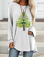cheap -Women's T Shirt Dress Tee Dress Short Mini Dress White Long Sleeve Animal Print Fall Round Neck Casual 2021 S M L XL XXL 3XL 4XL