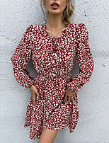 cheap -Women's A Line Dress Knee Length Dress Wine Long Sleeve Floral Lace up Print Fall Round Neck Casual 2021 S M L XL