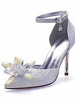 cheap -Women's Wedding Shoes High Heel Pointed Toe Wedding Satin Rhinestone Crystal Solid Colored Champagne Silver Ivory