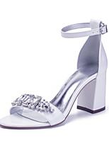 cheap -Women's Wedding Shoes Chunky Heel Open Toe Wedding PU Rhinestone Crystal Solid Colored Ivory White