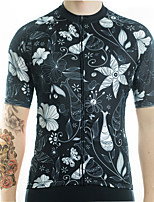 cheap -21Grams Men's Short Sleeve Cycling Jersey Summer Spandex Polyester Black Floral Botanical Funny Bike Top Mountain Bike MTB Road Bike Cycling Quick Dry Moisture Wicking Breathable Sports Clothing