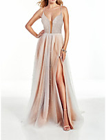 cheap -A-Line Beautiful Back Sexy Party Wear Wedding Guest Dress V Neck Sleeveless Floor Length Satin with Sequin 2021