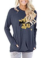 cheap -Women's Painting T shirt Text Paris La Tour Eiffel Long Sleeve Pocket Print Round Neck Basic Tops Blue Blushing Pink Dark Gray