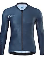 cheap -21Grams Men's Long Sleeve Cycling Jersey Spandex Red Dark Navy Polka Dot Bike Top Mountain Bike MTB Road Bike Cycling Quick Dry Moisture Wicking Sports Clothing Apparel / Athleisure