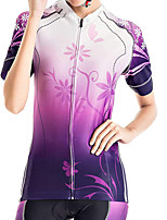 cheap -21Grams Women's Short Sleeve Cycling Jersey Summer Spandex Violet Gradient Floral Botanical Bike Top Mountain Bike MTB Road Bike Cycling Quick Dry Moisture Wicking Sports Clothing Apparel / Stretchy