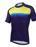 cheap -21Grams Men's Short Sleeve Cycling Jersey Summer Spandex Blue+Yellow Color Block Bike Top Mountain Bike MTB Road Bike Cycling Quick Dry Moisture Wicking Sports Clothing Apparel / Stretchy