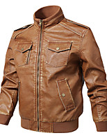 cheap -Men's Hiking Jacket Faux Leather Jacket Hiking Windbreaker Winter Outdoor Thermal Warm Windproof Lightweight Outerwear Trench Coat Top Skiing Ski / Snowboard Fishing Natural yellow Black Coffee