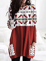cheap -Women's Shift Dress Short Mini Dress Red Long Sleeve Geometric Pocket Print Fall Winter Round Neck Casual Christmas 2021 S M L XL XXL 3XL
