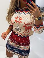 cheap -Women's Bodycon Short Mini Dress White Navy Blue Long Sleeve Christmas Print Fall Winter Round Neck Off Shoulder Active Casual Christmas Christmas 2021 S M L XL XXL