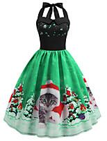 cheap -Women's A Line Dress Knee Length Dress Blue Purple Fuchsia Green Sleeveless Cat Animal Print Fall Winter Halter Neck Casual Vintage Christmas 2021 S M L XL XXL