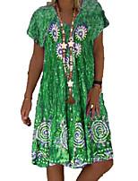 cheap -Women's A Line Dress Knee Length Dress Grey Green Navy Blue Short Sleeve Geometic Print Spring Summer V Neck Ethnic Casual 2021 S M L XL XXL / Cotton