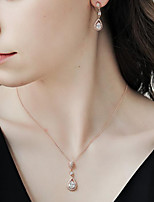 cheap -Choker Necklace Necklace Long Necklace Tennis Chain Cubic Zirconia Blue Pink White Artistic Simple Fashion Vintage Trendy Light Blue 80 cm Necklace Jewelry 1pc for Street Daily Holiday Club Festival