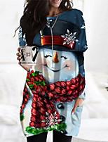 cheap -Women's Shift Dress Short Mini Dress Blue Red Long Sleeve Print Pocket Print Fall Winter Round Neck Casual Christmas Regular Fit 2021 S M L XL XXL 3XL