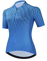 cheap -21Grams Women's Short Sleeve Cycling Jersey Summer Spandex Blue Polka Dot Bike Top Mountain Bike MTB Road Bike Cycling Quick Dry Moisture Wicking Sports Clothing Apparel / Stretchy / Athleisure