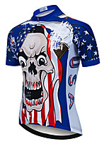 cheap -21Grams Men's Short Sleeve Cycling Jersey Summer Spandex Polyester Red+Blue Skull American / USA Funny Bike Top Mountain Bike MTB Road Bike Cycling Quick Dry Moisture Wicking Breathable Sports