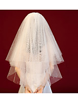 cheap -Three-tier European Style / Cute Wedding Veil Shoulder Veils with Solid / Paillette Tulle