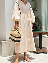 cheap -Women's A Line Dress Midi Dress Black Beige 3/4 Length Sleeve Solid Color Ruched Fall Round Neck Casual Lantern Sleeve 2021 S M L XL XXL 3XL