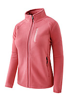 cheap -Women's Hiking Windbreaker Hiking Fleece Jacket Polar Fleece Winter Outdoor Solid Color Thermal Warm Windproof Warm Multi-Pockets Outerwear Trench Coat Top Full Length Visible Zipper Skiing Ski