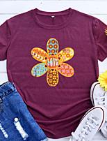 cheap -Women's T shirt Graphic Flower Letter Print Round Neck Basic Vintage Tops Regular Fit Blue Blushing Pink Wine