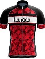 cheap -21Grams Men's Short Sleeve Cycling Jersey Summer Spandex Polyester Black / Red Canada Funny Bike Top Mountain Bike MTB Road Bike Cycling Quick Dry Moisture Wicking Breathable Sports Clothing Apparel